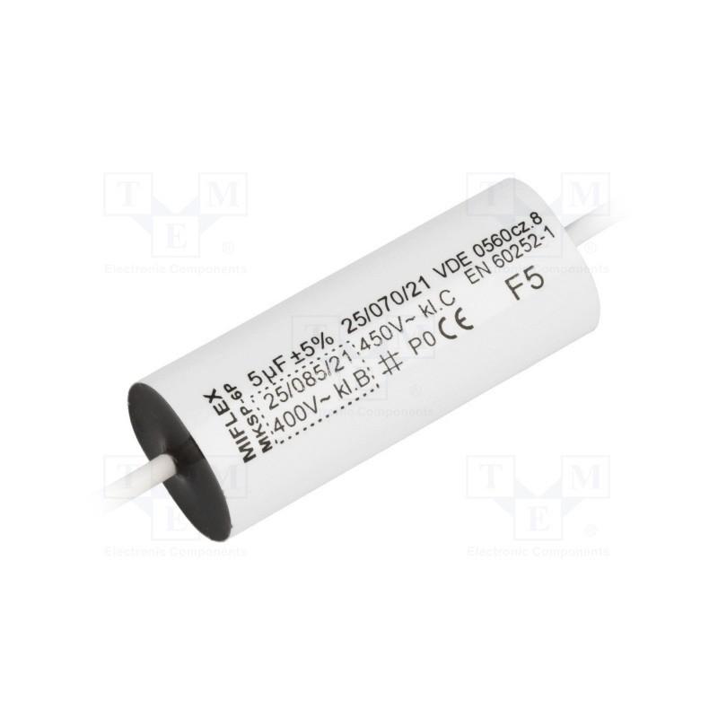 image: MIFLEX MKSP-6P 5UF 450V B Kondensator: do silników, pracy; 5uF; 450VAC; Ø16,5x47mm; ±5%